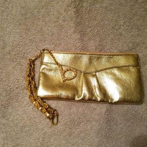 Bebe Gold clutch purse